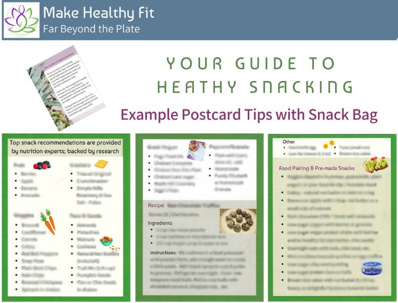 'Your Guide To Healthy Snacking' example insert that comes with snack bag.